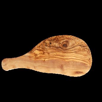 Tocator din Lemn de Maslin, forma neregulata cu maner, 25-29 cm