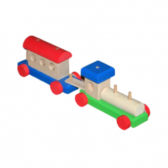 Trenulet din Lemn cu 5 Piese Demontabile, cu un Vagon, 3 ani +