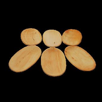 Set 6 platouri lemn de arin, 22 cm