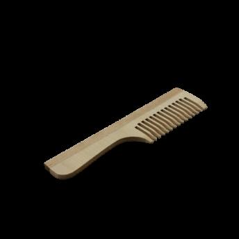 Pieptene cu maner, lemn de fag, peri rari, 19,5 cm