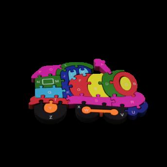 Puzzle din Lemn, Model Locomotiva, 6 ani +, numere si litere