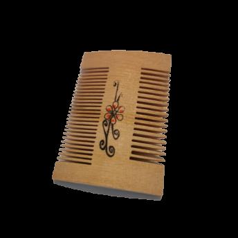 Pieptene dublu pentru par si barba din lemn de fag, 8.8 cm, Premium