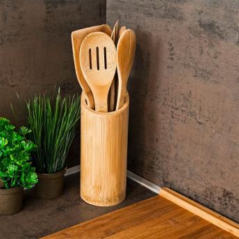 Set 6 Ustensile si Suport, din Bambus, pentru Bucatarie
