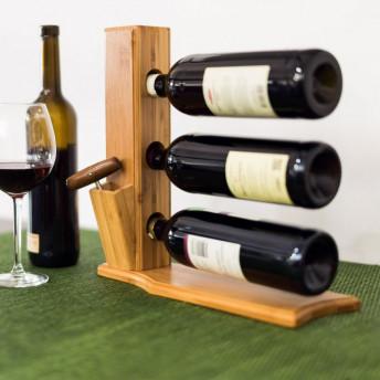 Suport din Bambus pentru 3 Sticle de Vin, 32 x 34 x 12 cm