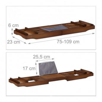Suport Cada din Bambus, Extensibil, Maro Inchis, 75 cm -119 cm, Premium
