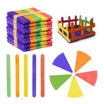 Set 500 Palete colorate din lemn, pentru Creatie