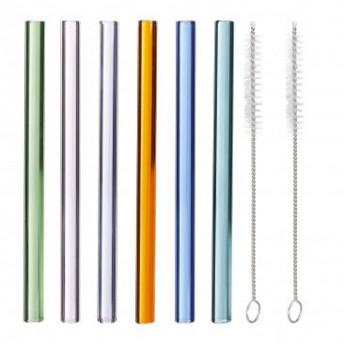 Set 6 Paie Colorate Drepte din Sticla si 2 perii curatare, 23 cm