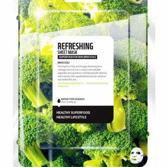 Masca faciala coreeana revigoranta de tip servetel cu broccoli, Farm Skin, 1 buc