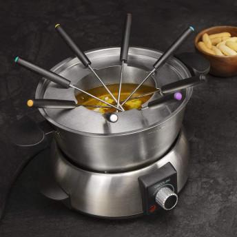 Set fondue electric CECOTEC 8018,1000 W, termostat reglabil ,1.6 litri, 8 furculite Argintiu