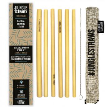 Set 6 paie din bambus, cu perie curatare si saculet iuta