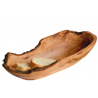 Bol Oval Rustic din Lemn de Maslin, 15-16 cm