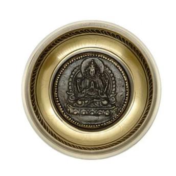 Bol tibetan cantator Nepal cu perna colorata - Avalokitesvara si Dublu Dorje, 11cm