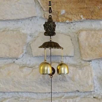 Clopotei de vant din metal cu 3 ramuri, Ganesha - 50cm