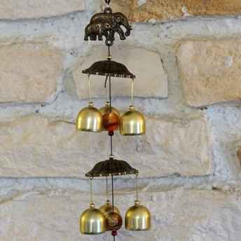 Clopotei de vant din metal cu 6 ramuri, elefanti si flori - 55cm