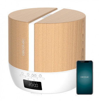 Difuzor aroma cu Ultrasunete Smart Cecotec PureAroma 550 Connected, control din Smartphone, 7 culori LED, boxa incorporata - Stejar