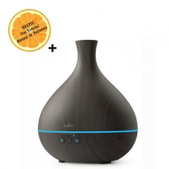 Difuzor aromaterapie cu ultrasunete Anjou AJ-AD012, LED, Wenge + Ulei Esential Natural de Portocala