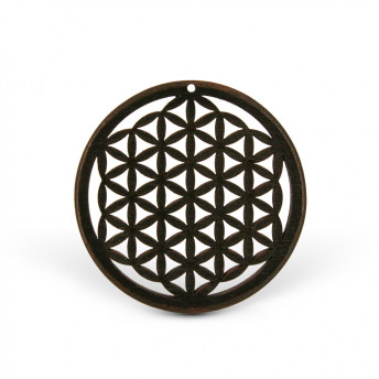 Amuleta din lemn - The Flower of Life, Negru