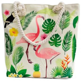 Geanta cu maner din sfoara, model Flamingo, 45 cm