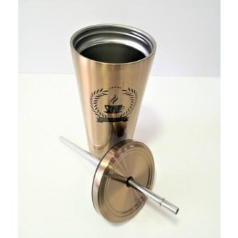 Cana termos pentru bauturi calde sau reci + pai din metal, auriu