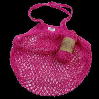 Plasa Ecologica de cumparaturi cu maner lung, roz, bumbac 100% (1 bucata)