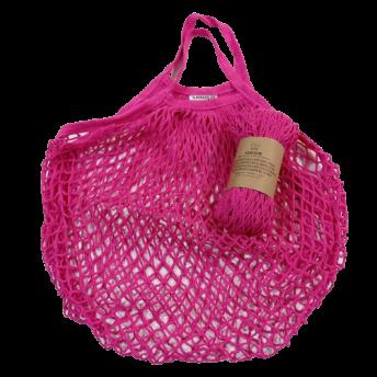 Plasa Ecologica de cumparaturi cu maner scurt, roz, bumbac 100% (1 bucata)