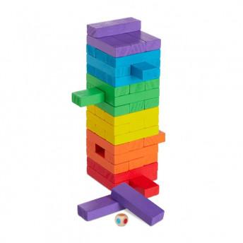 Jenga - joc din lemn 48 piese, 27 cm, Multicolor