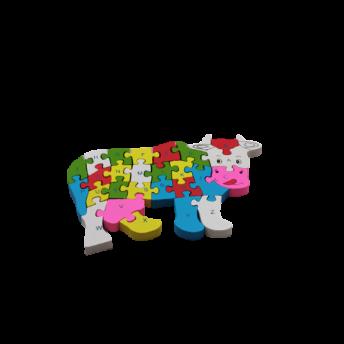 Puzzle din Lemn, Model Vacuta, 6 ani +, numere si litere