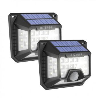 Set 2 lampi solare BlitzWolf BW-OLT3, LED, 32 leduri, incarcare solara si senzor de miscare