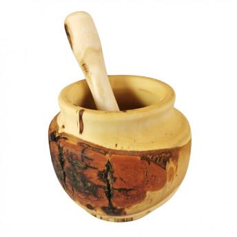 Mojar Rustic Mare, cu Pistil, din Lemn de Arin, 12 cm