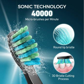 Periuta de dinti electrica ATMOKO AMHP126 cu 8 capete DuPont, 3D, 5 moduri, temporizator 2 min, 40000 pulsatii/min