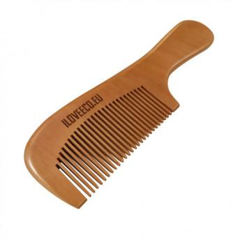 Pieptene cu maner, din lemn de Mahon, pentru par sau barba, 17,5 x 5 cm