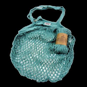 Plasa Ecologica de cumparaturi cu maner lung, azuriu, bumbac 100% (1 bucata)