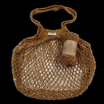 Plasa Ecologica de cumparaturi cu maner lung, maro, bumbac 100% (1 bucata)