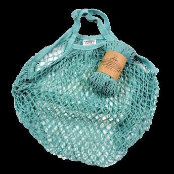 Plasa Ecologica de cumparaturi cu maner scurt, azuriu, bumbac 100% (1 bucata)