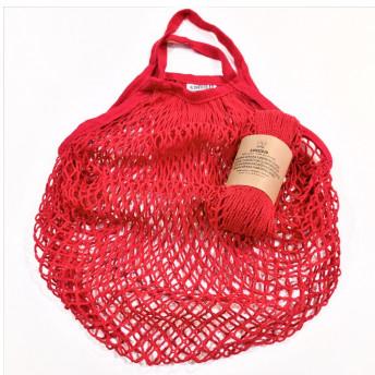 Plasa Ecologica de cumparaturi cu maner scurt, rosu, bumbac 100% (1 bucata)