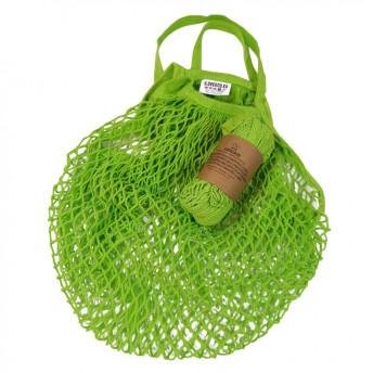Plasa Ecologica de cumparaturi cu maner scurt, verde, bumbac 100% (1 bucata)