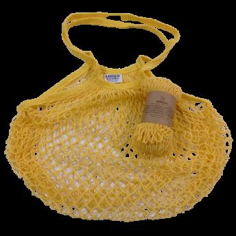 Plasa Ecologica de cumparaturi cu maner lung, galben, bumbac 100% (1 bucata)