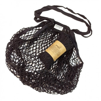 Plasa Ecologica de cumparaturi cu maner lung, negru, bumbac 100% (1 bucata)