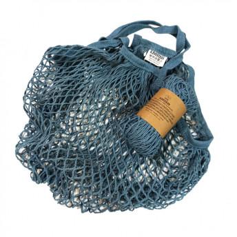 Plasa Ecologica de cumparaturi cu maner lung, albastru, bumbac 100% (1 bucata)