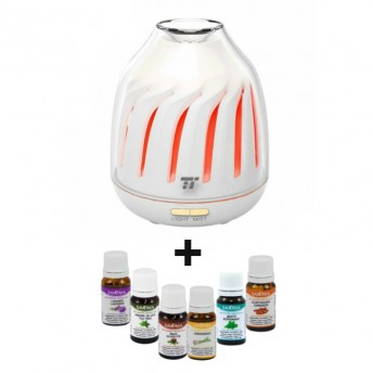 Difuzor aromaterapie cu Ultrasunete TaoTronics TT-AD007, 120ml + 6 Uleiuri Esentiale Naturale Savonia