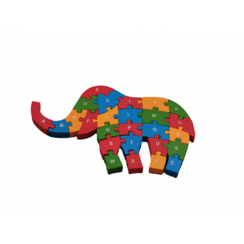 Puzzle din Lemn, Model Elefant, 6 ani +, numere si litere