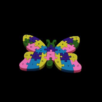 Puzzle din Lemn, Model Fluture, 6 ani +, numere si litere