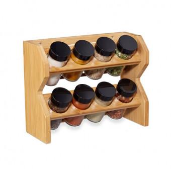 Raft pentru condimente din bambus cu 8 borcane