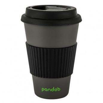 Cana de cafea cu capac, protectie termica din silicon, negru