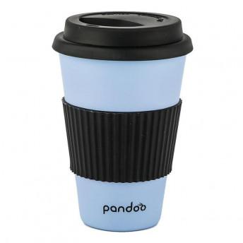 Cana de cafea cu capac, protectie termica din silicon, albastru