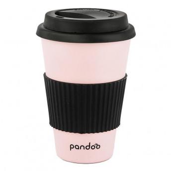 Cana de cafea cu capac, protectie termica din silicon, roz