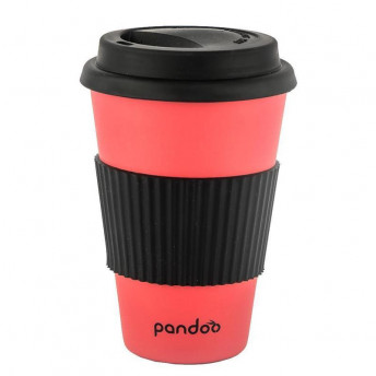 Cana de cafea cu capac, protectie termica din silicon, rosu
