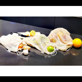 Set saculeti din bumbac, pentru produse agricole, 3 bucati, marimile M, L, XL