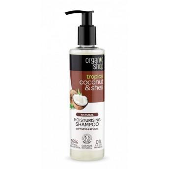 Sampon bio hidratant pentru par uscat Coconut & Shea, 280 ml - Organic Shop
