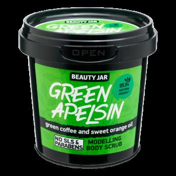 Scrub modelator pentru corp, cu cafea verde si ulei de portocala, Green Apelsin, Beauty Jar, 200 g